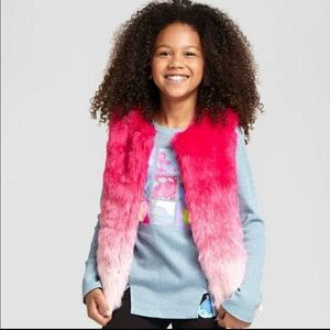 Trolls Hot Pink Ombre Faux Fur Vest Medium 7 8